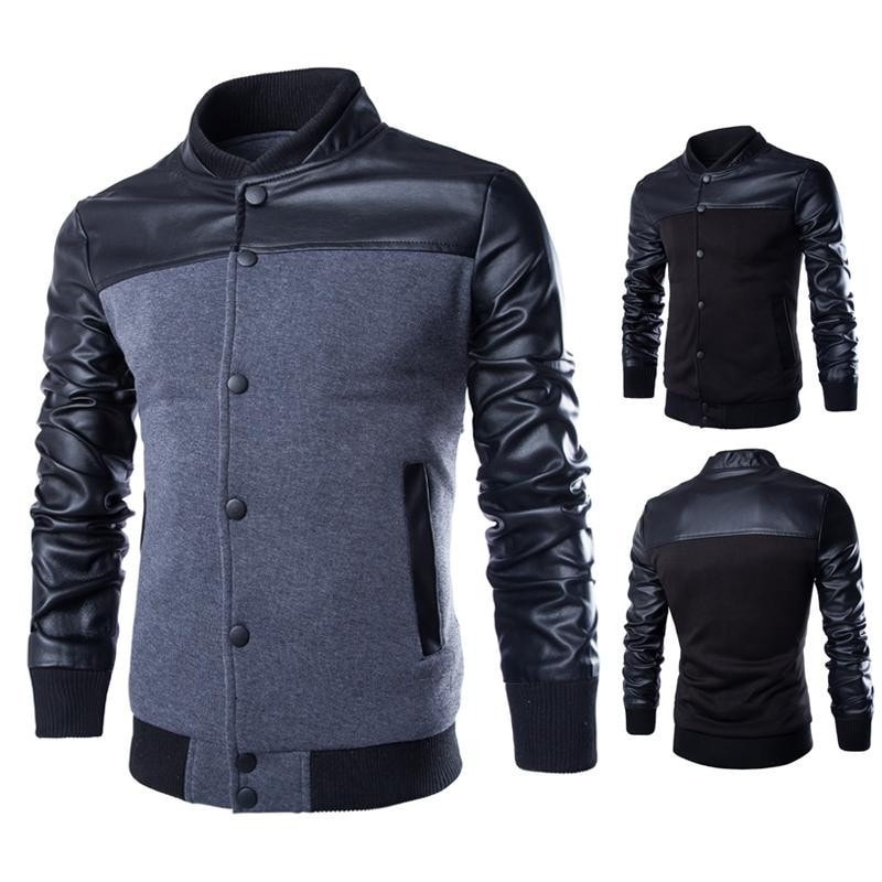 Stylish Buttoned Leather Jacket - Jacket - eDealRetail - 1