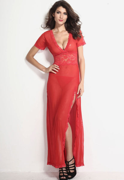 Sexy V-Neck Lace Long Nightgowns - lingerie - eDealRetail - 10