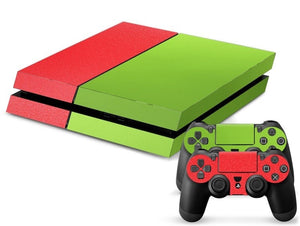 Red/Green Leather Print PS4 Skin + 2 Controller Skins - PS4 Skins - eDealRetail - 1