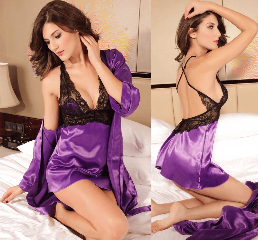 Sexy 2 Piece Nightgown Lingerie Purple - lingerie - eDealRetail - 1