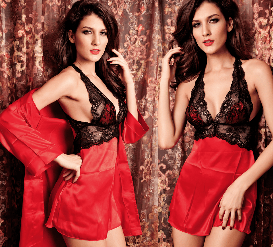 Sexy 2 Piece Nightgown Lingerie Red - lingerie - eDealRetail - 2
