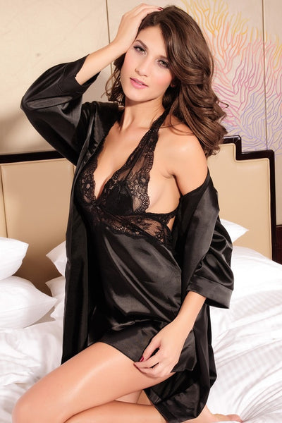 Sexy 2 Piece Nightgown Lingerie Black - lingerie - eDealRetail - 4