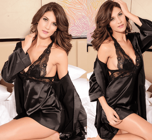 Sexy 2 Piece Nightgown Lingerie Black - lingerie - eDealRetail - 1
