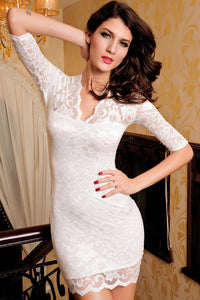 Sexy Half Sleeve Lace Bodycon Dress - Dresses - eDealRetail - 9