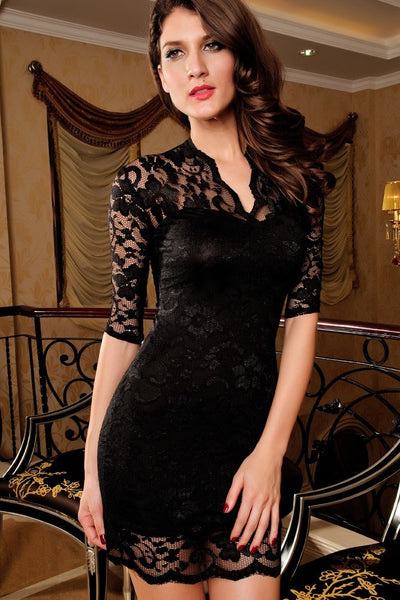Sexy Half Sleeve Lace Bodycon Dress - Dresses - eDealRetail - 5