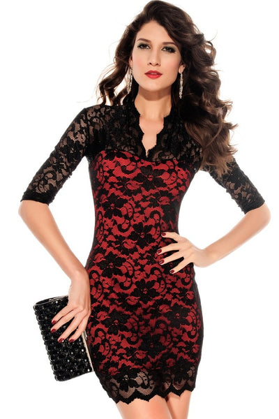 Sexy Half Sleeve Lace Bodycon Dress - Dresses - eDealRetail - 2