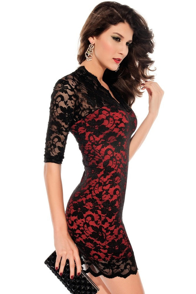 Sexy Half Sleeve Lace Bodycon Dress - Dresses - eDealRetail - 3