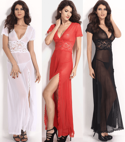 Sexy V-Neck Lace Long Nightgowns - lingerie - eDealRetail - 1