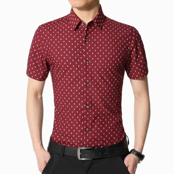 Skull Print Short Sleeve Collar Shirts - Casual Shirts - eDealRetail - 2