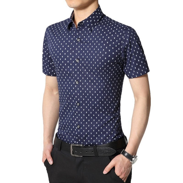 Skull Print Short Sleeve Collar Shirts - Casual Shirts - eDealRetail - 5