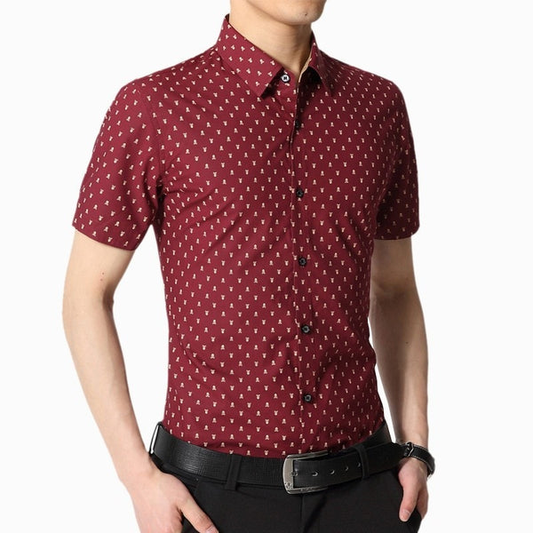 Skull Print Short Sleeve Collar Shirts - Casual Shirts - eDealRetail - 3