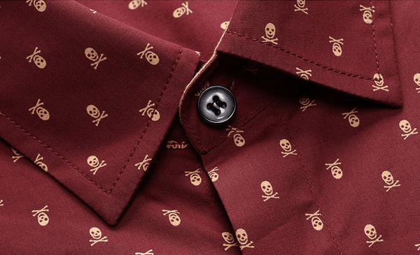 Skull Print Short Sleeve Collar Shirts - Casual Shirts - eDealRetail - 6