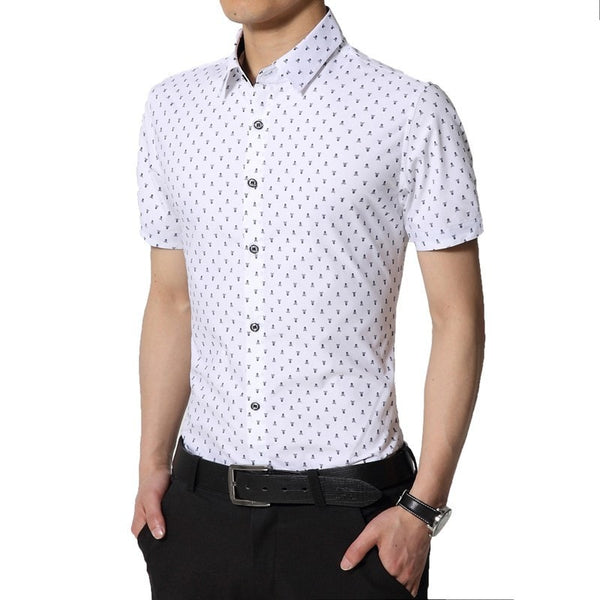 Skull Print Short Sleeve Collar Shirts - Casual Shirts - eDealRetail - 1