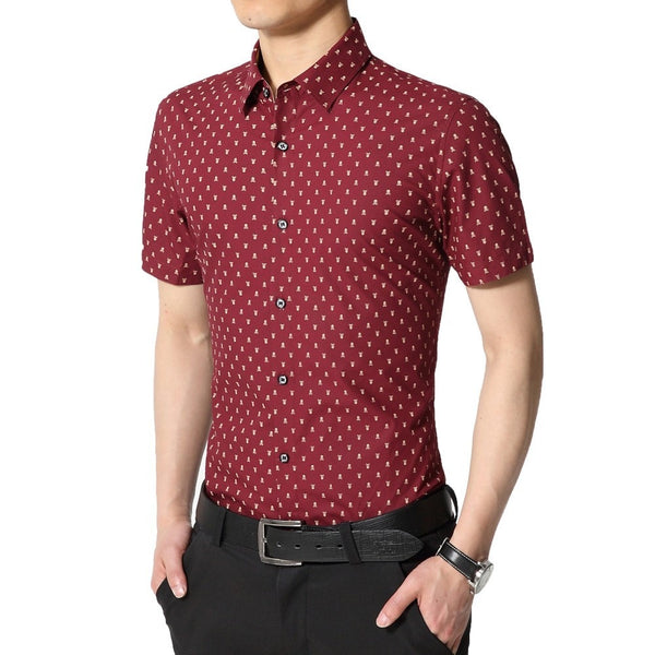 Skull Print Short Sleeve Collar Shirts - Casual Shirts - eDealRetail - 4