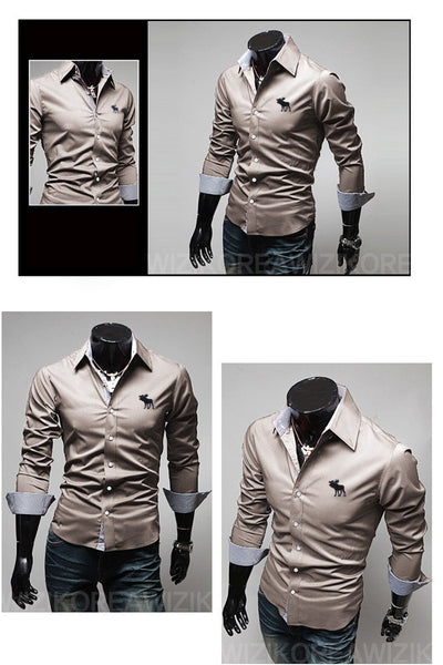 Embroidery Male Slim Long Sleeve Shirts - Dress Shirts - eDealRetail - 9
