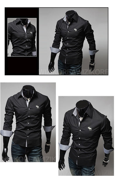 Embroidery Male Slim Long Sleeve Shirts - Dress Shirts - eDealRetail - 10