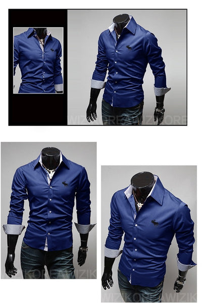 Embroidery Male Slim Long Sleeve Shirts - Dress Shirts - eDealRetail - 11
