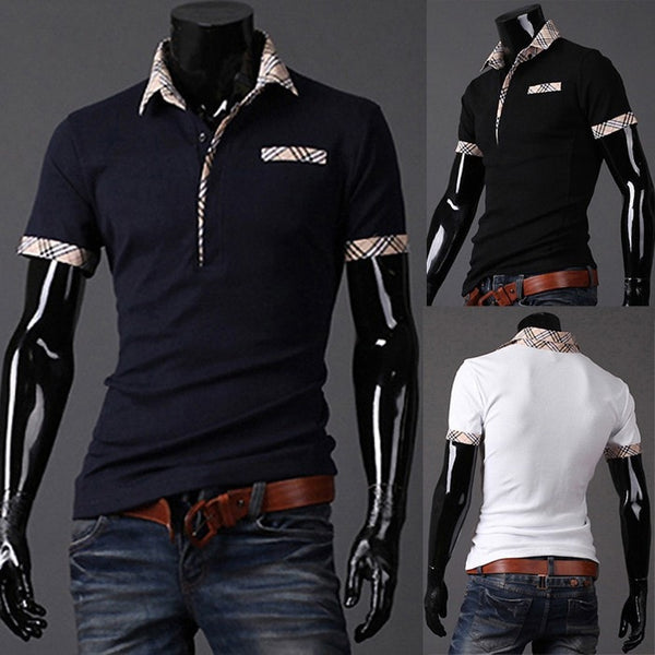 Fitted T Shirts Mens Turn Down Collar Short Sleeve Polo - Casual Shirts - eDealRetail - 1