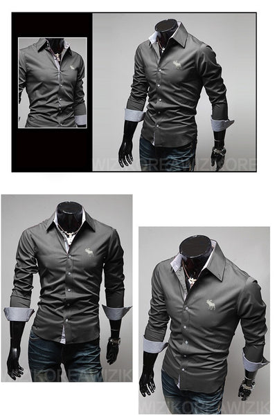 Embroidery Male Slim Long Sleeve Shirts - Dress Shirts - eDealRetail - 8