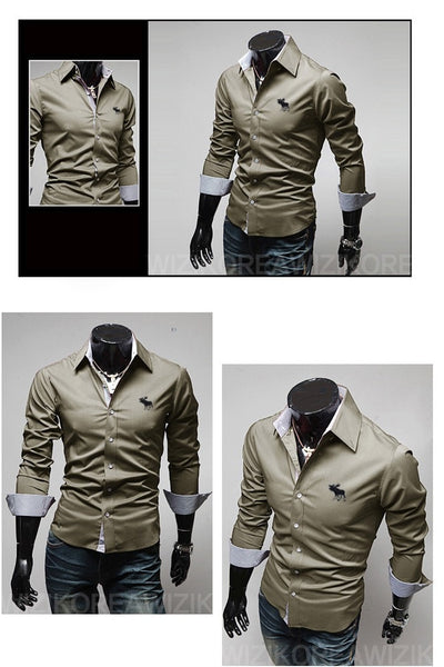 Embroidery Male Slim Long Sleeve Shirts - Dress Shirts - eDealRetail - 7