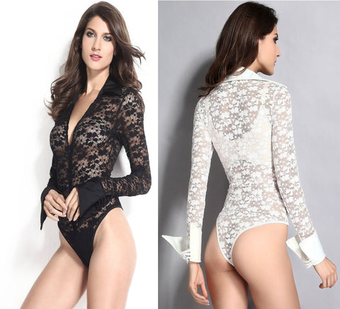 Sexy Long Sleeve Lace Bodysuit Sleepwear - lingerie - eDealRetail - 1