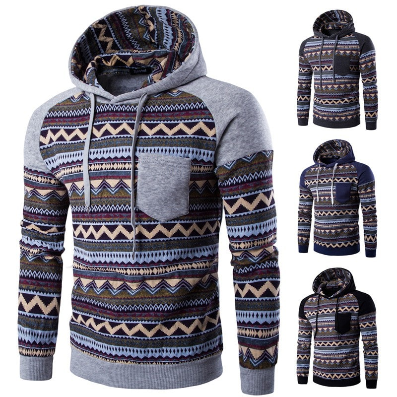 Tribal Print Pocket Raglan Hoodie - Hoodies - eDealRetail - 1