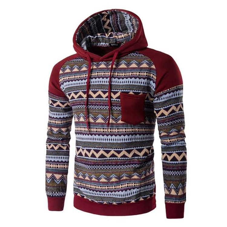 Tribal Print Pocket Raglan Hoodie - Hoodies - eDealRetail - 2