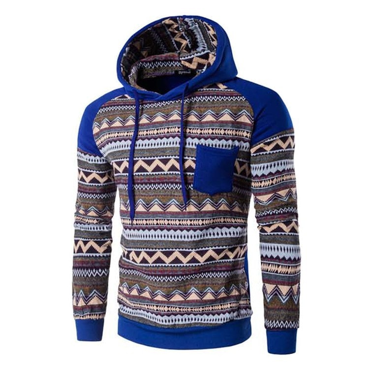 Tribal Print Pocket Raglan Hoodie - Hoodies - eDealRetail - 3
