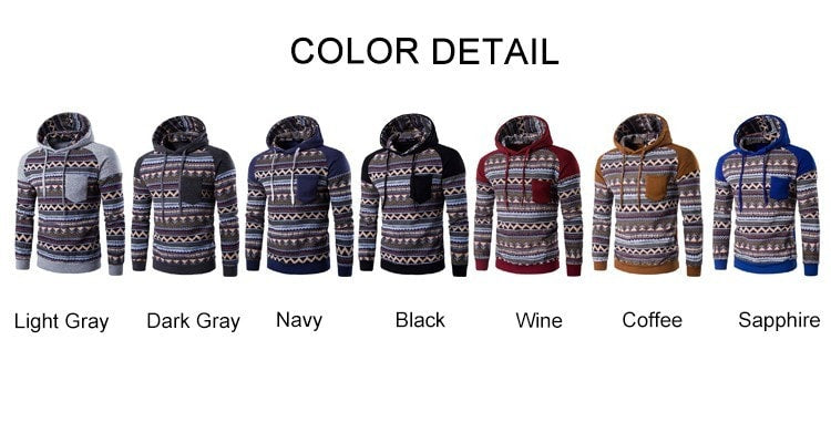 Tribal Print Pocket Raglan Hoodie - Hoodies - eDealRetail - 11