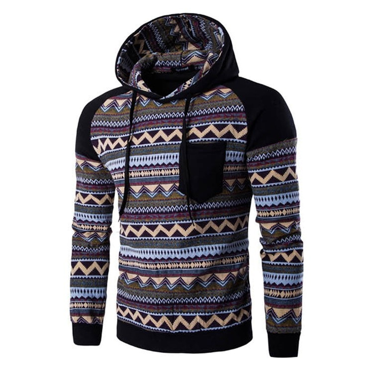 Tribal Print Pocket Raglan Hoodie - Hoodies - eDealRetail - 6