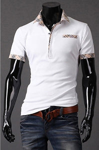 Fitted T Shirts Mens Turn Down Collar Short Sleeve Polo - Casual Shirts - eDealRetail - 7