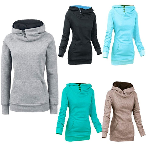 Women's High Collar Button Sweatshirts - Hoodies - eDealRetail - 1