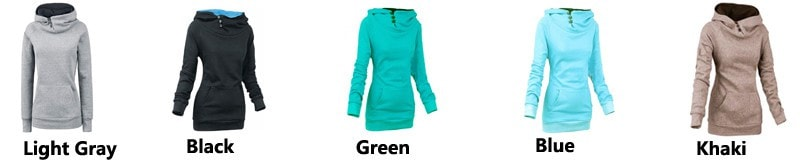 Women's High Collar Button Sweatshirts - Hoodies - eDealRetail - 10