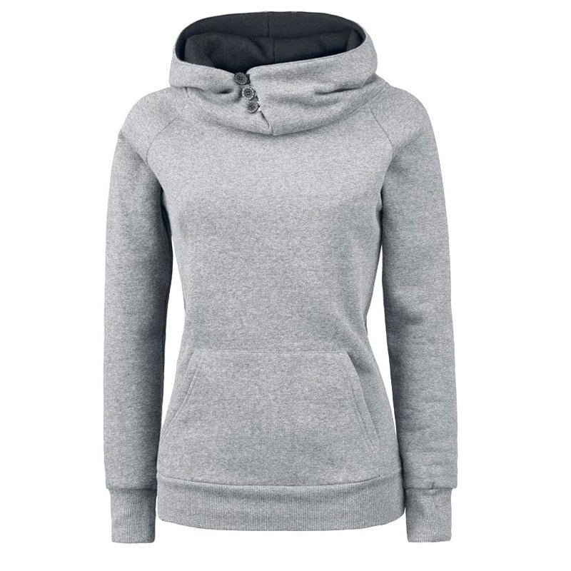 Women's High Collar Button Sweatshirts - Hoodies - eDealRetail - 2