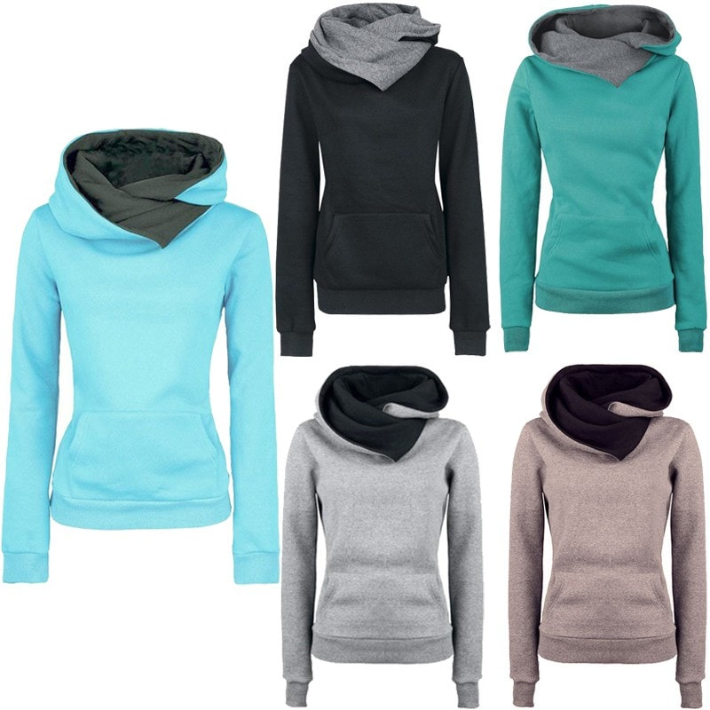 Women's High Collar Stylish Sweatshirt - Hoodies - eDealRetail - 1