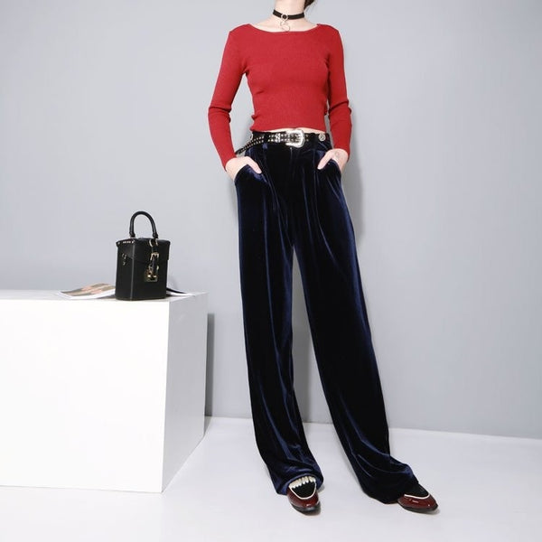2016 Women's High Waisted Velvet Pants - Women's Pants - eDealRetail - 5