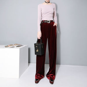 2016 Women's High Waisted Velvet Pants - Women's Pants - eDealRetail - 1
