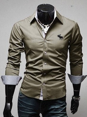 Embroidery Male Slim Long Sleeve Shirts - Dress Shirts - eDealRetail - 3