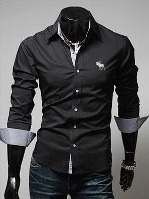 Embroidery Male Slim Long Sleeve Shirts - Dress Shirts - eDealRetail - 4