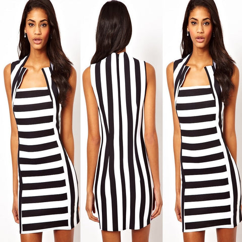 Black & White Bodycon Striped Cocktail Dress - Dresses - eDealRetail - 1