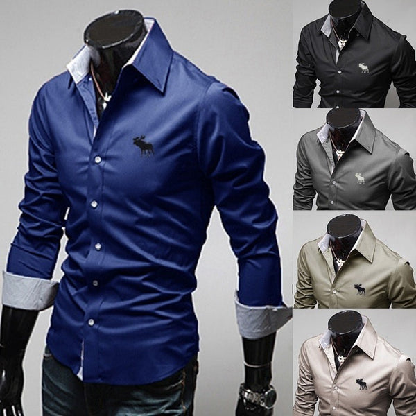 Embroidery Male Slim Long Sleeve Shirts - Dress Shirts - eDealRetail - 1