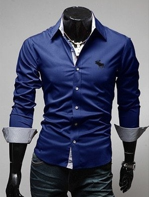 Embroidery Male Slim Long Sleeve Shirts - Dress Shirts - eDealRetail - 2