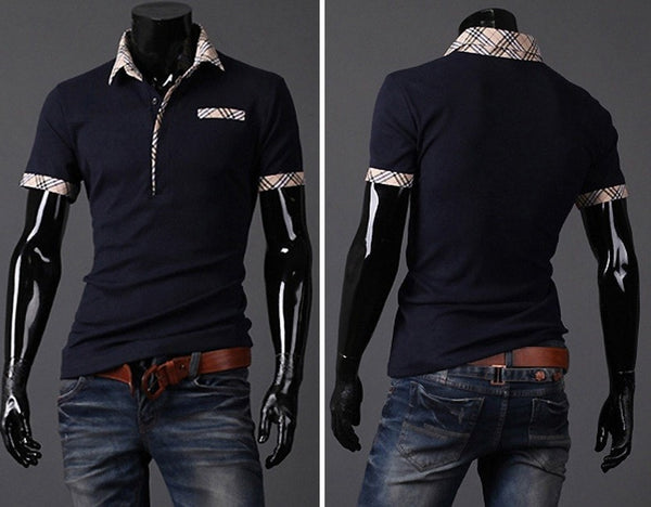 Fitted T Shirts Mens Turn Down Collar Short Sleeve Polo - Casual Shirts - eDealRetail - 6