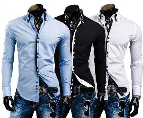 Double Collar Stylish Dress Shirts - Dress Shirts - eDealRetail - 11