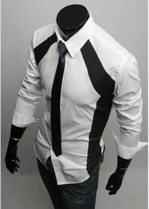 Luxury White/Black Slim Fit Two Tone Dress Shirts - Dress Shirts - eDealRetail - 6