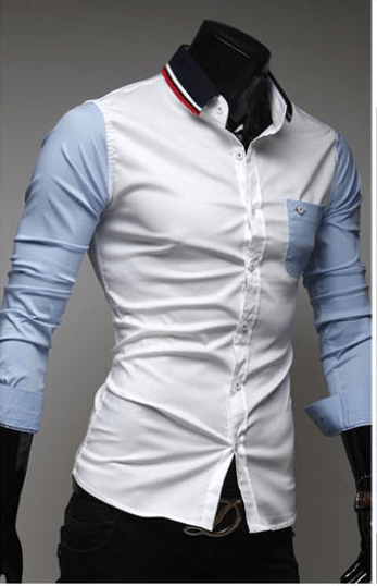 Mens Slim Fit Shirts Block Decoration Fashion Long-Sleeve Pocket Tee - Casual Shirts - eDealRetail - 2