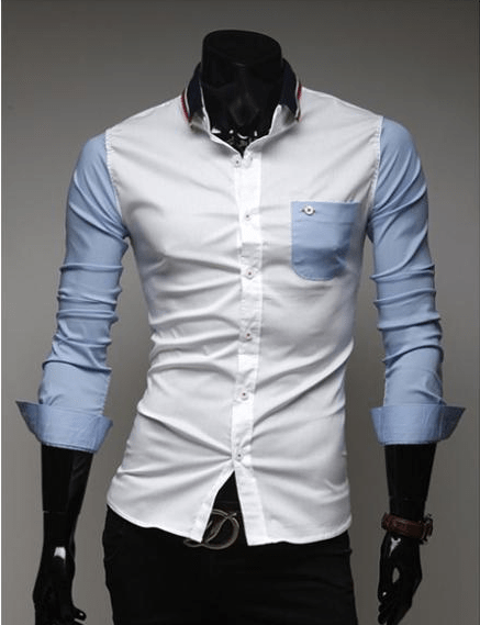 Mens Slim Fit Shirts Block Decoration Fashion Long-Sleeve Pocket Tee - Casual Shirts - eDealRetail - 3