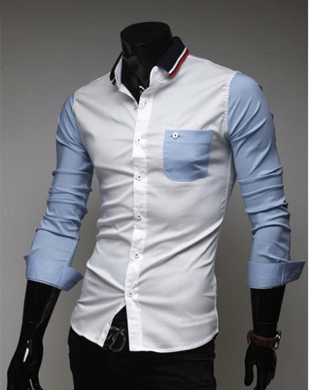 Mens Slim Fit Shirts Block Decoration Fashion Long-Sleeve Pocket Tee - Casual Shirts - eDealRetail - 4