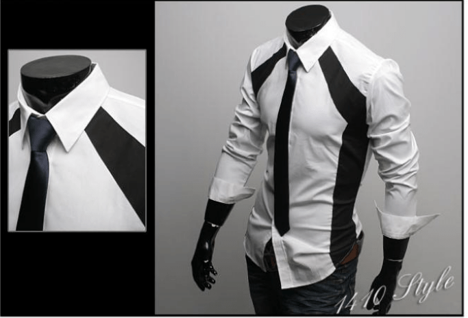 Luxury White/Black Slim Fit Two Tone Dress Shirts - Dress Shirts - eDealRetail - 7