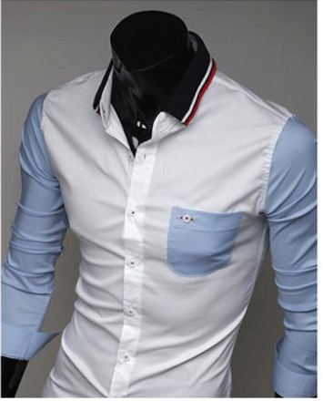 Mens Slim Fit Shirts Block Decoration Fashion Long-Sleeve Pocket Tee - Casual Shirts - eDealRetail - 5
